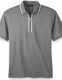 Mercerized Cotton Half Zip Polo with Tipping