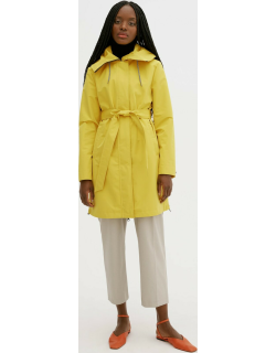 Cara womens mid length raincoat with fixed hood and removable self tie waist belt
