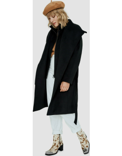 Aiko womens belted faux wool coat with removable inner fooler