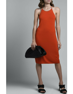 Halter-Neck Viscose Dress With Low T-Knot Back