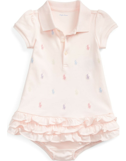 Ruffled Embroidered Polo Dress w/ Solid Bloomers,