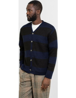 The English Difference TED Mohair Stripe Cardigan Navy & Black