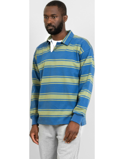 Drop Out Sports Stripe Rugby Shirt Green & Blue