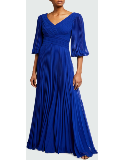 V-Neck 1/2-Sleeve Accordion Pleated Chiffon Gown