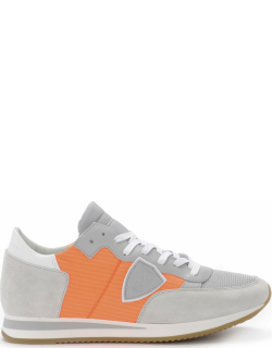 Philippe Model Tropez Grey Suede And Leather Sneaker With Fluo Orange Fabric