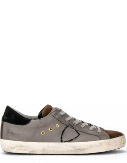 Philippe Model Paris Sneaker In Gray Leather And Brown Suede