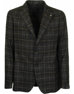 Tagliatore Gray And Brown Checked Two-button Jacket