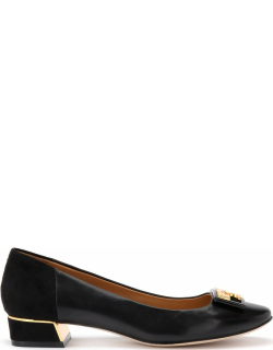 Tory Burch Gigi Ballerina With Logo In Soft Black Nappa And Suede
