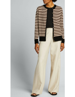 Striped Button-Front Cotton Cardigan