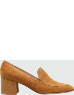 Suede Pleated Loafer Pumps