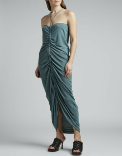 Glossy Viscose Jersey Ruched Halter Dress