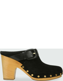Dacey Suede Buckle Clogs