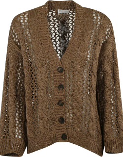 Brunello Cucinelli Ribbed Knit Buttoned Cardigan