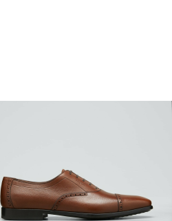 Men's Riley Saddle Pebbled Leather Oxford Shoes