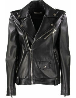 RED Valentino Pleated Back Leather Biker