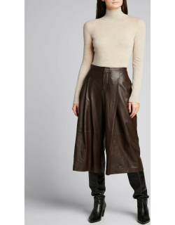 Lamb Leather Cropped Culottes