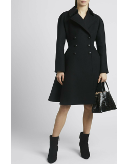Double Breasted Cascading Back Wool Coat