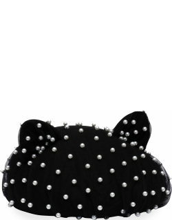Caterina Cat-Ear Wool Beret with Pearly Tulle Overlay