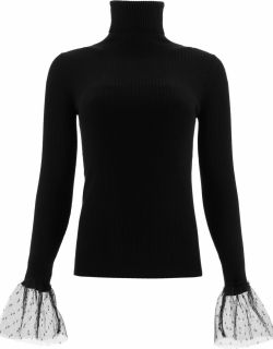 RED Valentino Turtleneck Sweater With Tulle Ruffles