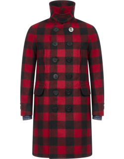 Dsquared2 Check-motif Double Breasted Wool Coat
