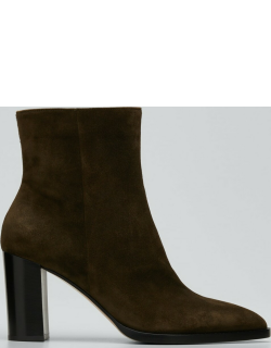 85mm Point-Toe Suede Double-Sole Booties