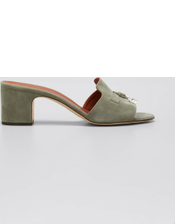 Suede Charm Slide Mules