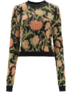 Paco Rabanne Cropped Floral Sweater