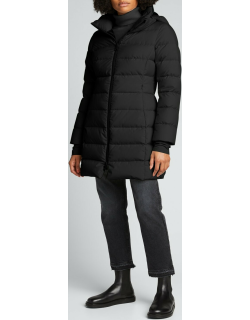Long Fitted Puffer Coat with Thumbholes