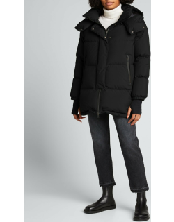 Woven Puffer Coat with Hood