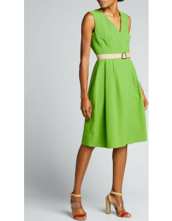 Double-Weave A-Line Leather Belted Dress
