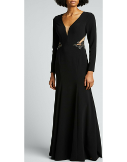 Deep V-Neck Long-Sleeve Crepe Gown with Cutout Back