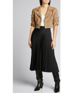 Ruched-Sleeve Cropped Suede Moto Jacket