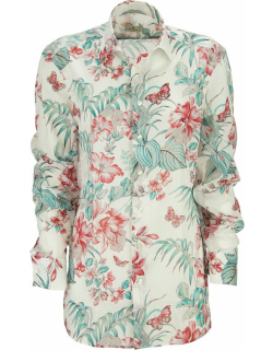 Etro Cotton Shirt With Floral And Butterfly