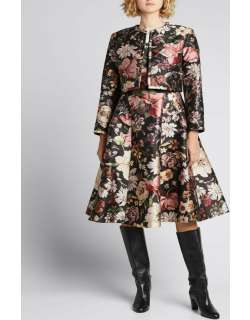Quilted Floral Jacquard Cropped Jacket