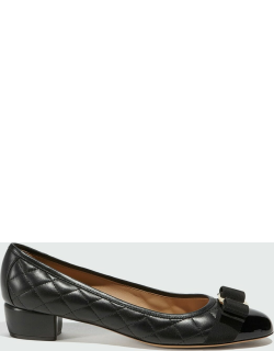 Quilted Patent Cap-Toe Vara Bow Pumps