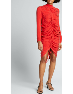 Ruched Crepe Long-Sleeve Cocktail Dress
