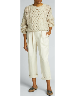 Cashmere-Blend Ribbed Cable-Knit Sweater