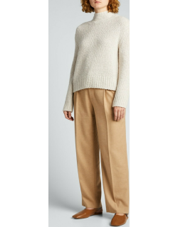 Textured Wool-Cashmere Funnel-Neck Sweater