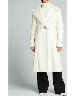 Long Belted Coat w/ Removable Rib-Knit Collar