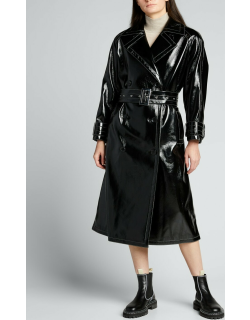 Shelby Show Faux-Leather Trench Coat