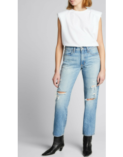 Sophie Mid-Rise Ripped Straight-Leg Jeans