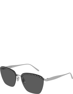Rimless Square Metal Sunglasses with Crystals
