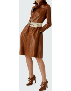 Annalise Belted Leather Shirtdress