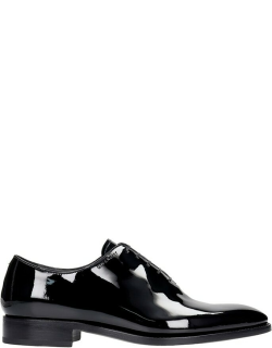 Givenchy Classic Oxford Lace Up Shoes In Black Patent Leather