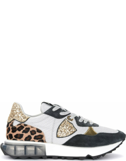 Grey, Black And Gold Sneaker Philippe Model La Rue With Animalier Details