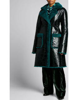 Leather Coat w/ Contrast Shearling Trim