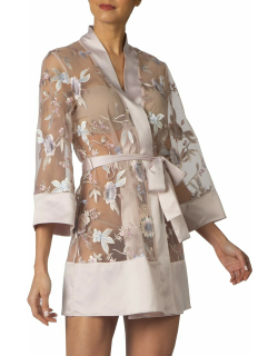 Stunning Floral-Embroidered Cover-Up Robe