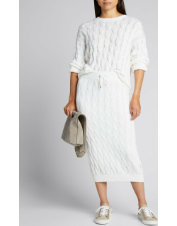 Cable-Knit Midi Skirt
