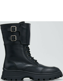 Leather Buckle Cuff Mid Combat Boots