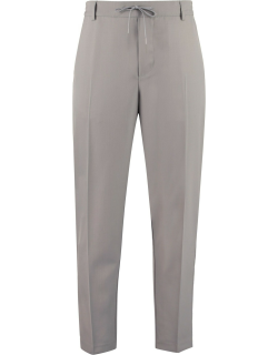 Maison Kitsuné Wool-blend Trousers With Drawsting At Waist